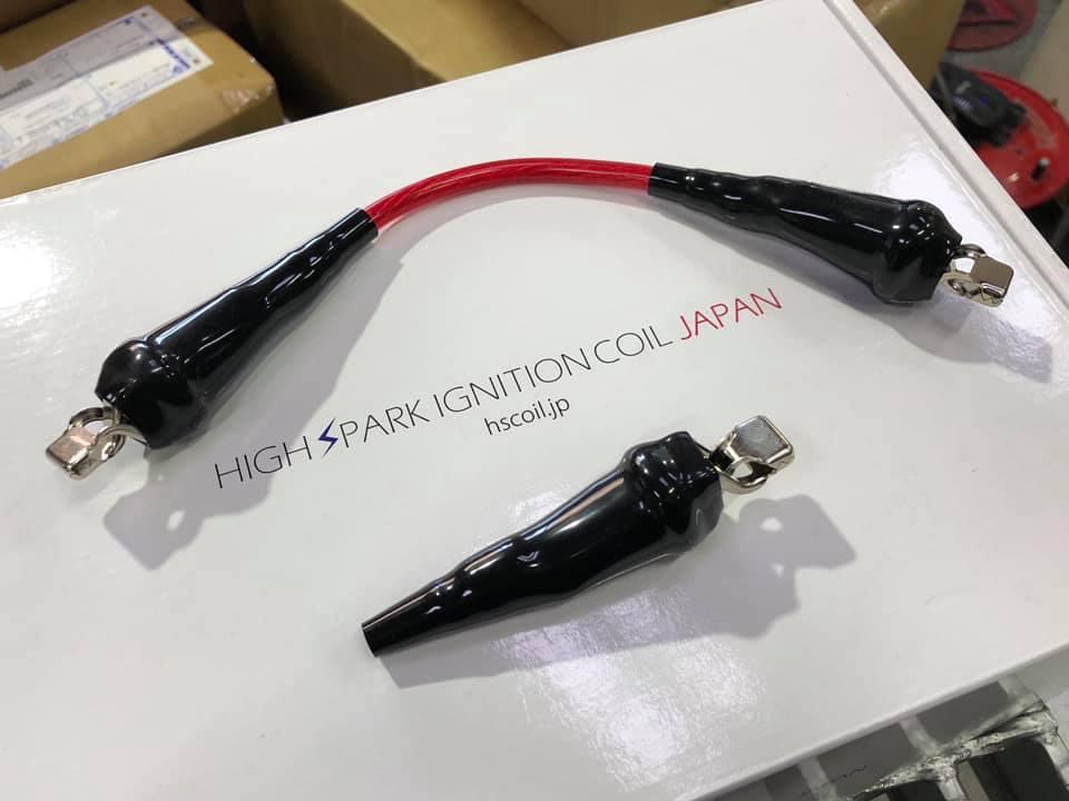 アライメント調整にHIGH SPARKポジティブターミナルにHIGH SPARKノイズリダクションケーブルの取付!