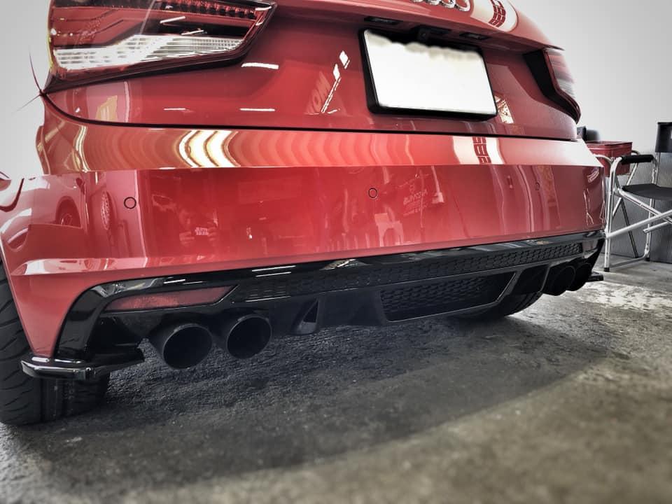 AUDI S1 ワンオフフロントパイプ製作にミルテックマフラー改!